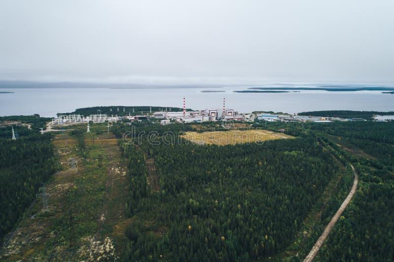 Centrale atomica fornita di reattore nucleare a fissione fotografia stock libera da diritti