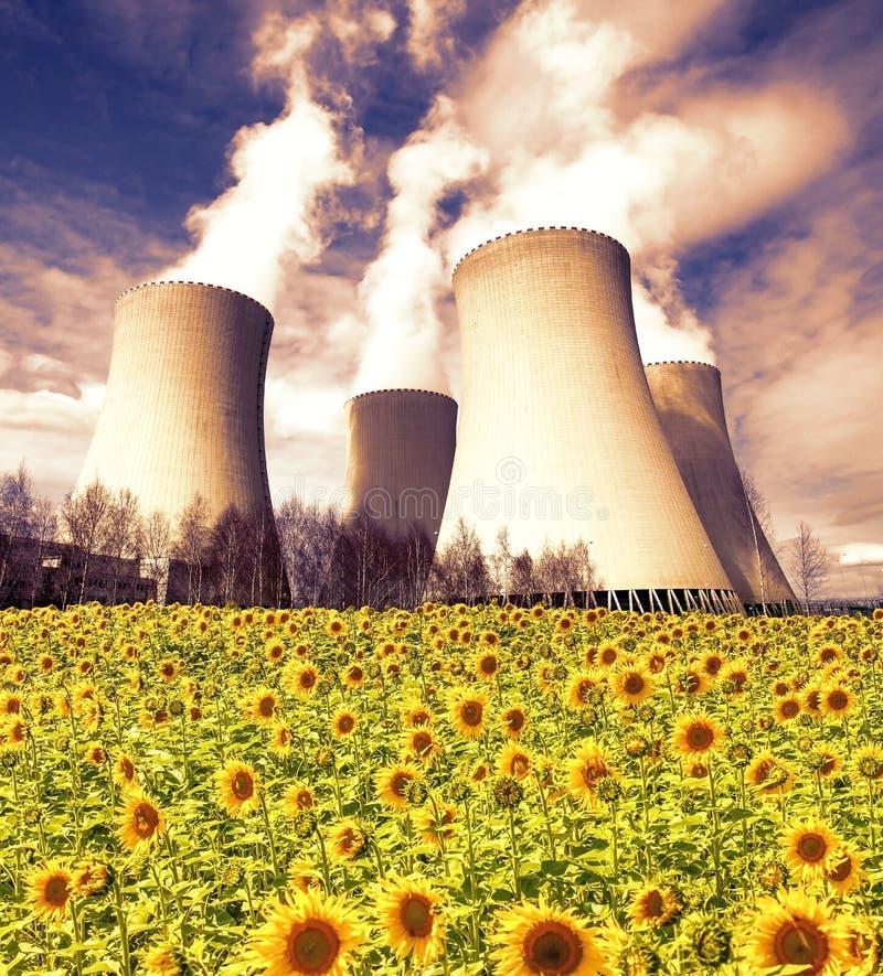 Centrale atomica Temelin con il giacimento del girasole, repubblica Ceca fotografia stock libera da diritti