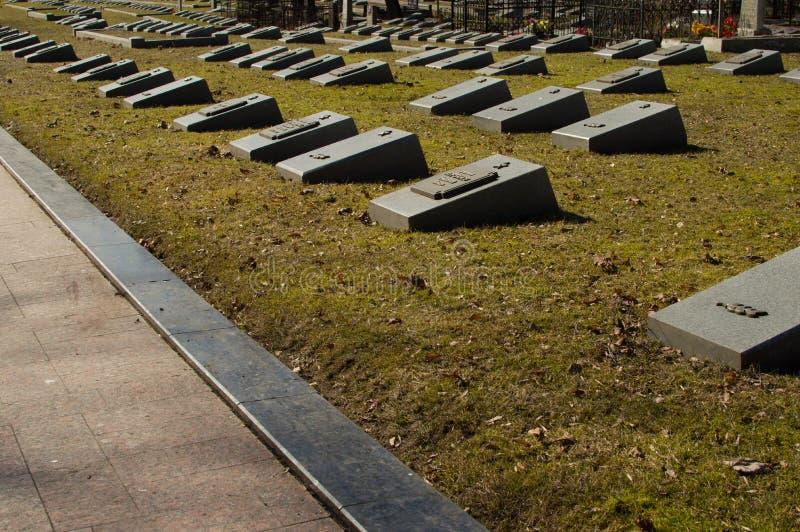 Centrale begraafplaats wit-rusland minsk Graven van militairen van ww2 graaf stock afbeelding