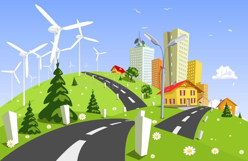 Centrale d'énergie éolienne illustration libre de droits