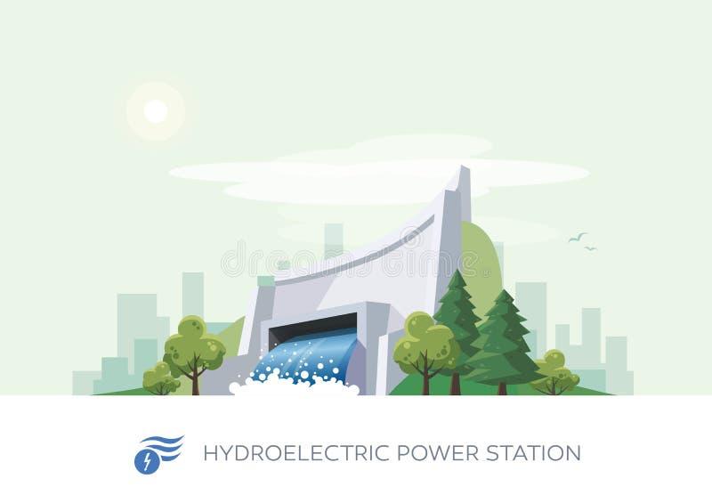 Centrale d'énergie hydraulique hydro-électrique illustration libre de droits