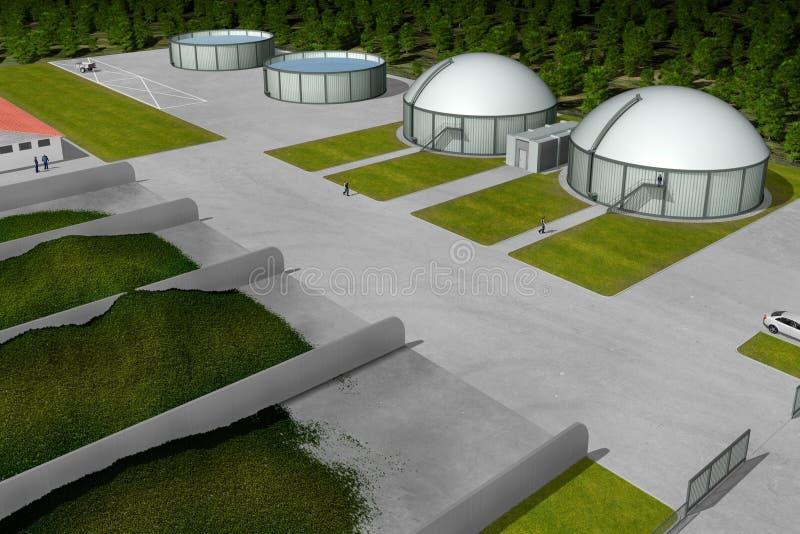 Centrale de biogaz illustration de vecteur