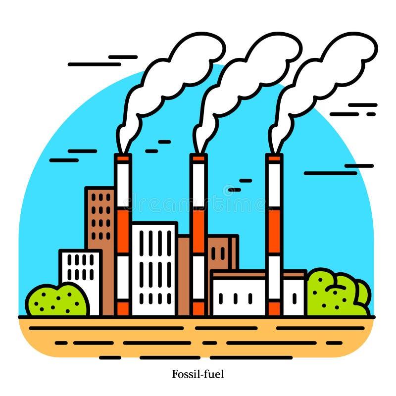 Centrale de combustible fossile Station thermique de centrale électrique ou de se produire Ic?ne de b?timent industriel Charbon,  illustration de vecteur