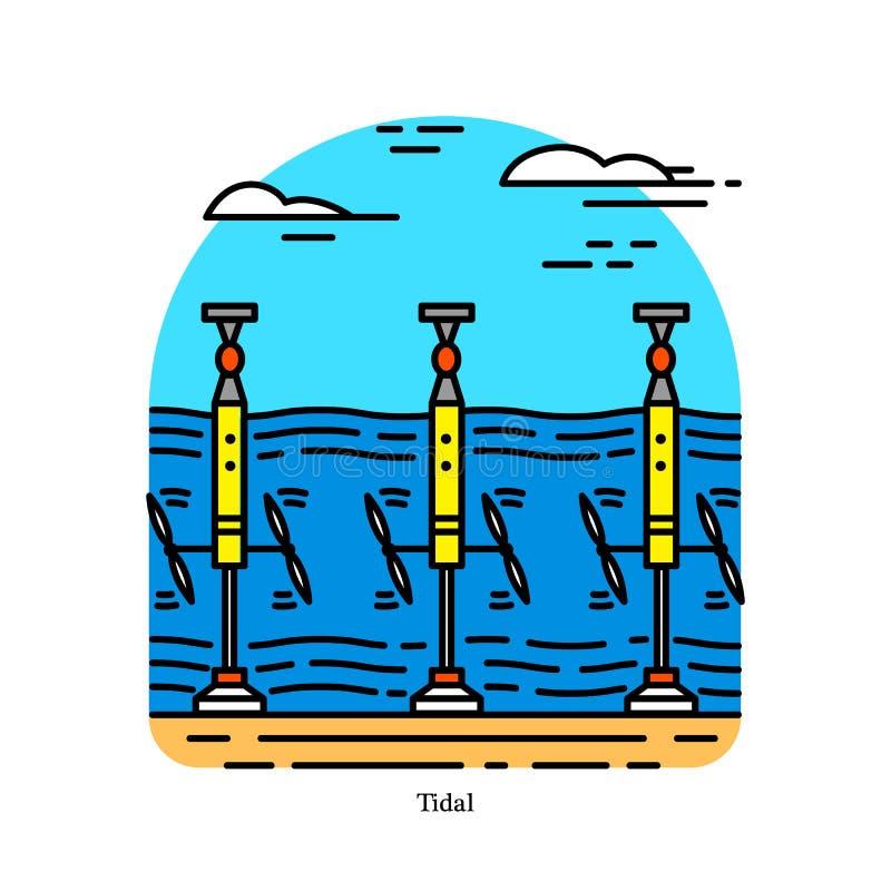 Centrale de marée Forme d'hydroélectricité qui convertit l'énergie obtenue à partir des marées en électricité Centrale électrique illustration stock