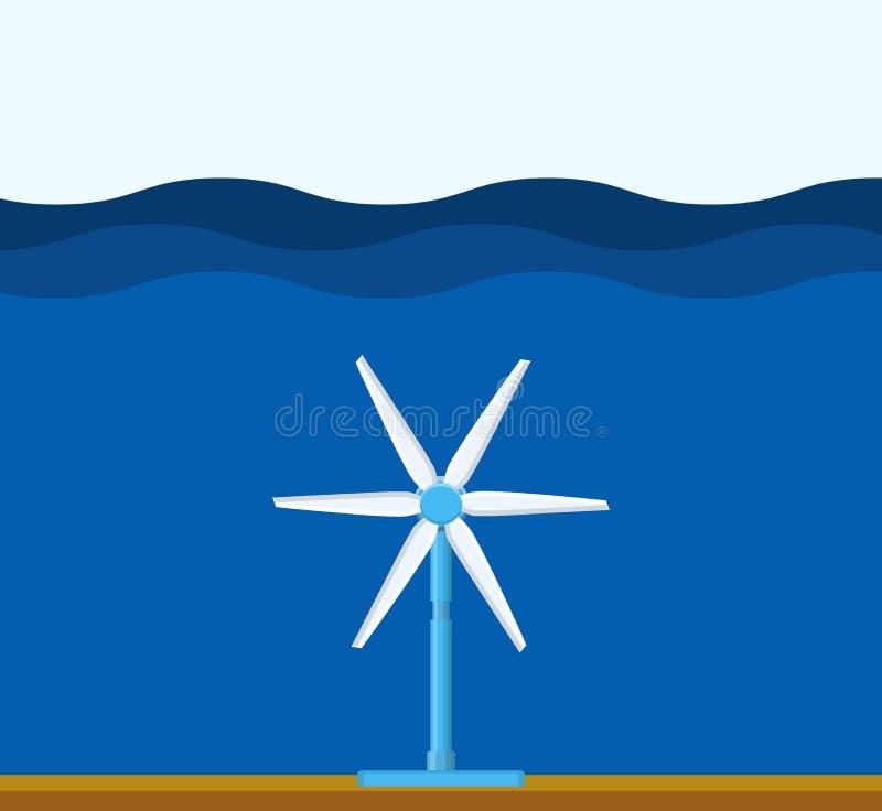Centrale de marée Nettoyez le concept d'énergie renouvelable illustration libre de droits