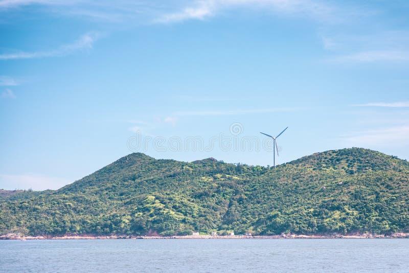 Centrale de moulin à vent en île de Lamma, Hong Kong image libre de droits