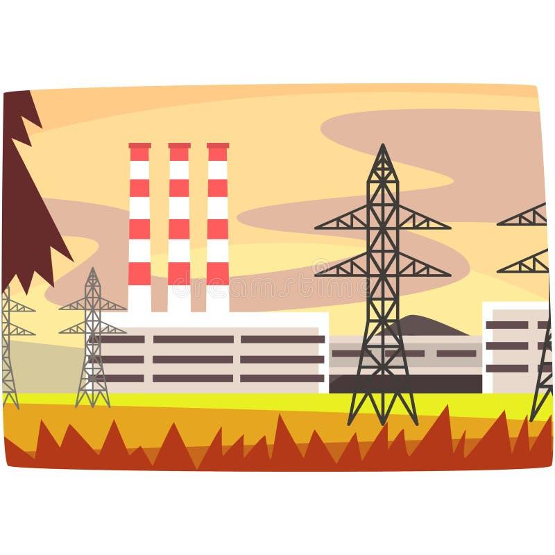 Centrale elettrica del combustibile fossile, illustrazione orizzontale di vettore della pianta di produttore d'energia royalty illustrazione gratis