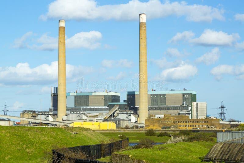 Centrale elettrica del Tilbury: Elettricità. fotografia stock libera da diritti