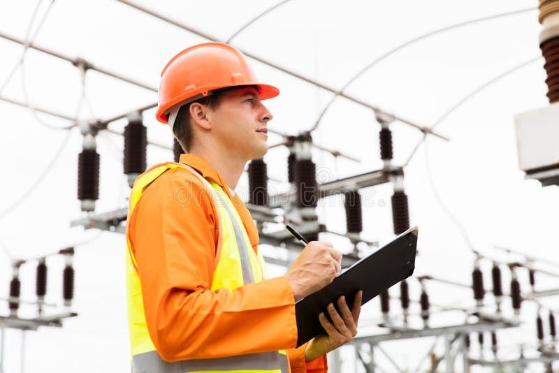 Centrale elettrica dell'ingegnere elettrico fotografia stock libera da diritti
