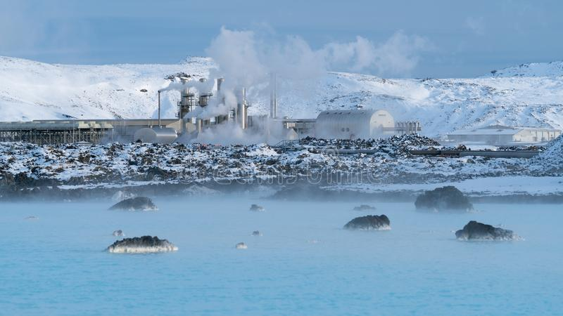 Centrale elettrica di energia geotermica di Grindavik, Islanda fotografie stock libere da diritti
