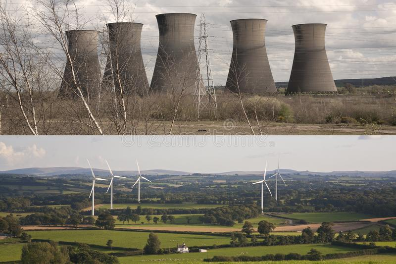 Centrale elettrica sudicia contro i generatori eolici puliti e luminosi immagini stock libere da diritti