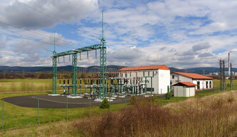 Centrale et voies près de Prunerov image libre de droits