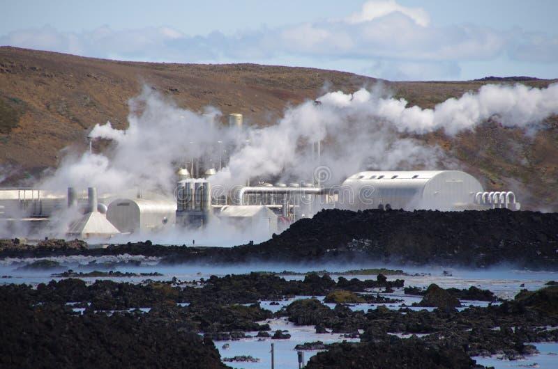 Centrale géothermique Islande de lagune bleue image libre de droits
