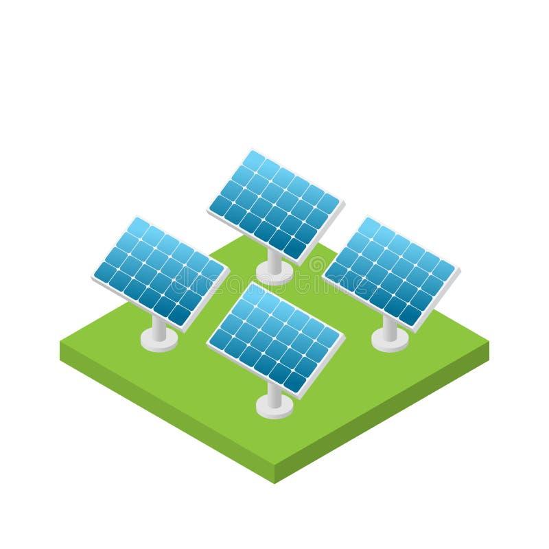Centrale isométrique simple de pile solaire d'isolement illustration libre de droits