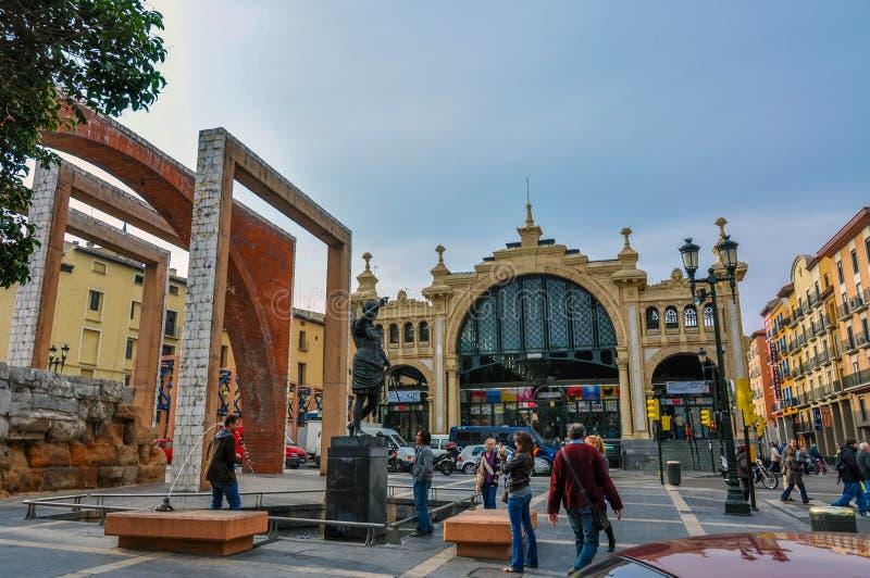 Centrale Mercado is de beroemdste markt in Saragossa, Spanje stock foto's