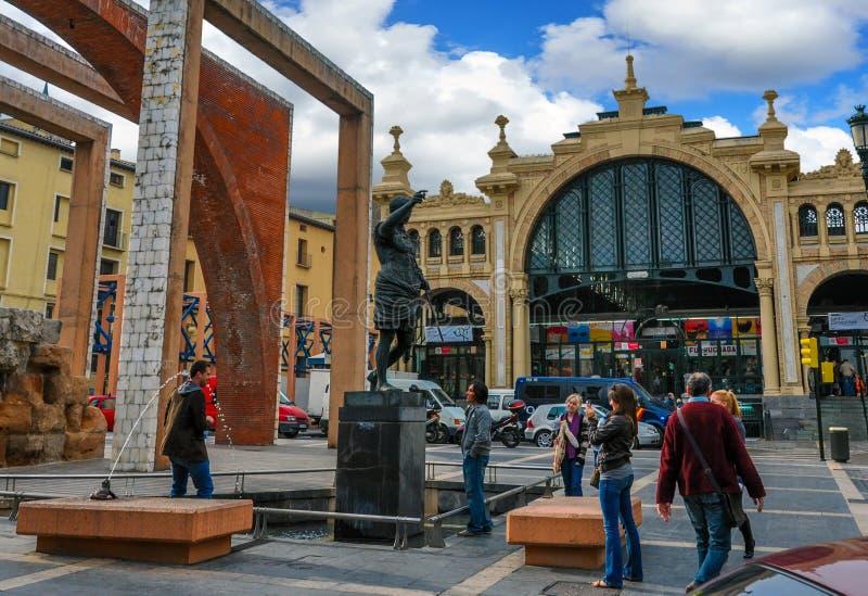 Centrale Mercado is de beroemdste markt in Saragossa, Spanje stock afbeelding