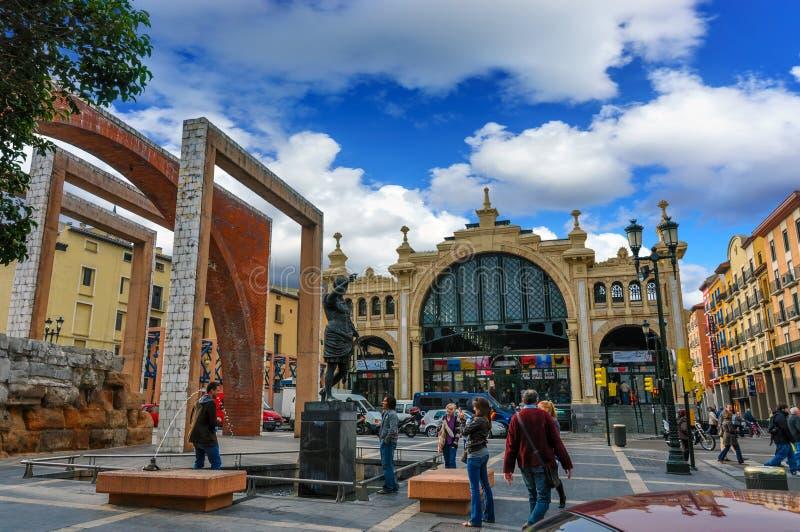 Centrale Mercado is de beroemdste markt in Saragossa, Spanje royalty-vrije stock fotografie