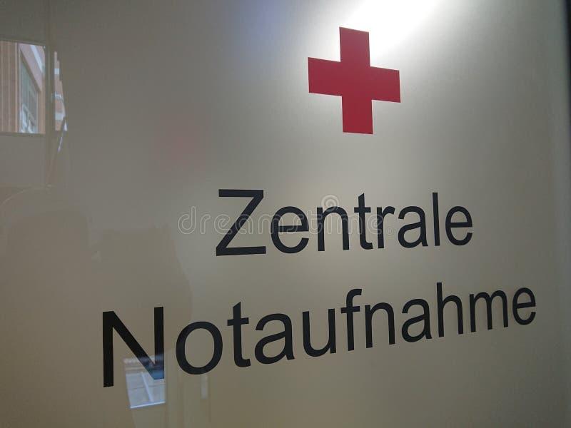 Centrale Noodsituatiezaal in Duitstalig stock afbeelding