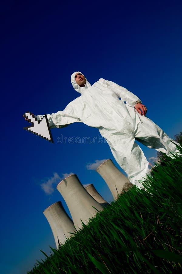 centrale nucléaire d'homme images libres de droits