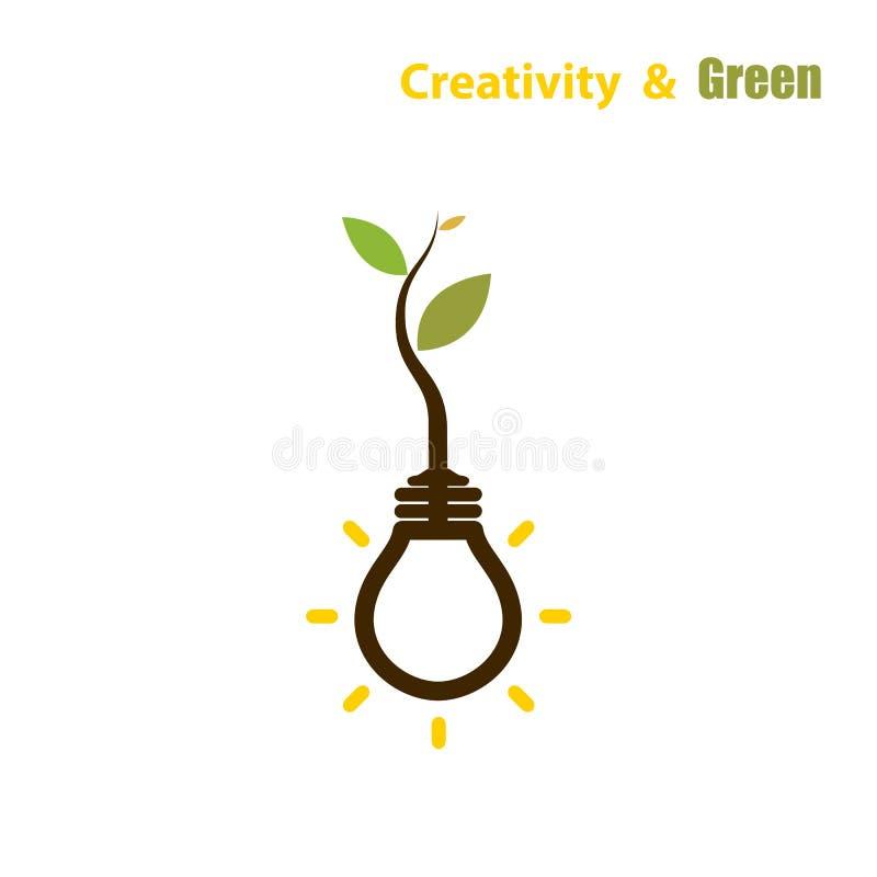 Centrale s'élevant à l'intérieur de l'ampoule Concept vert d'énergie d'eco illustration libre de droits