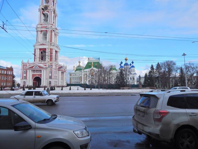 Centrale straat in de stad van Tambov Rusland stock afbeeldingen