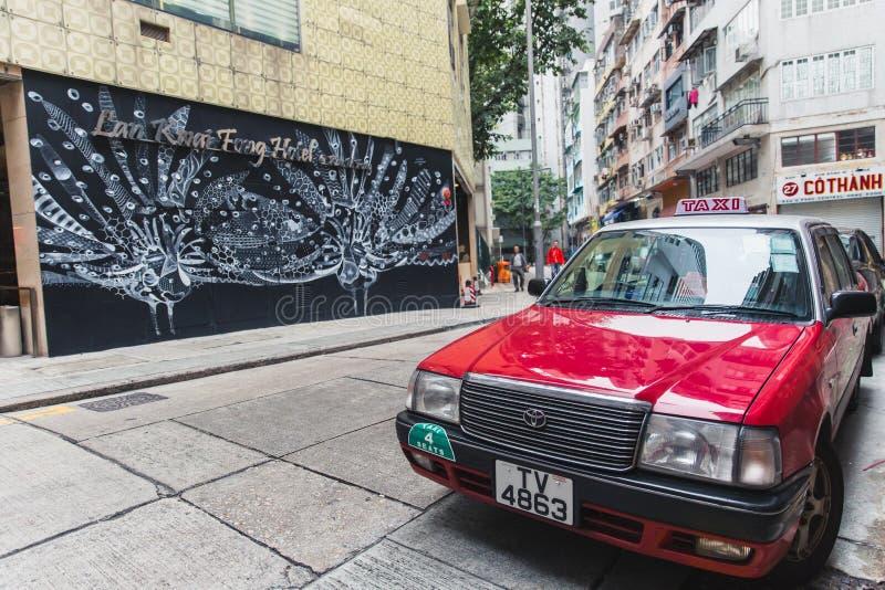 Centrale van de de stads moderne kunst van districtshong kong de straatmening met rode populairste de reisplaats in traditionele  stock afbeelding