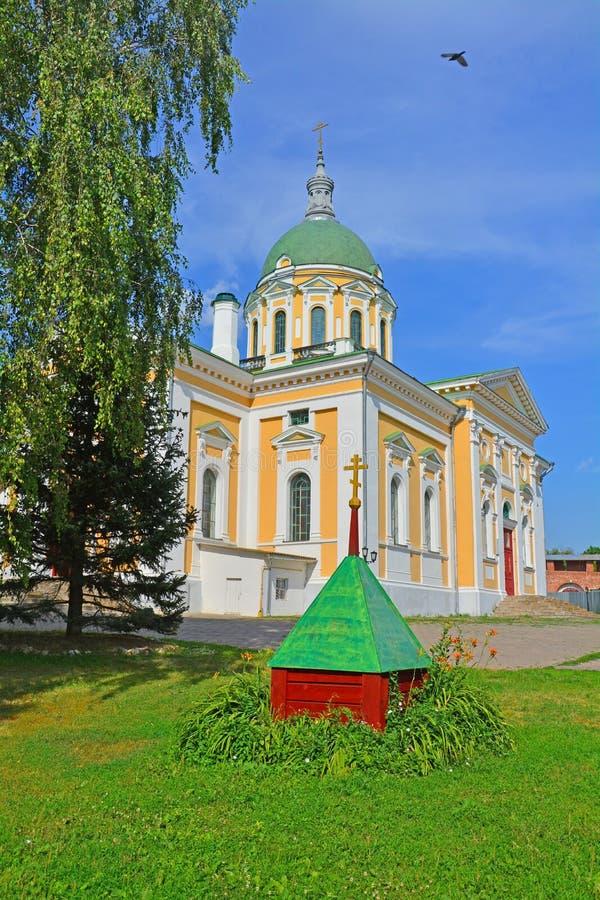 Centrale voorgevel van Kathedraal van St John Doopsgezind in Zaraysk het Kremlin royalty-vrije stock foto's