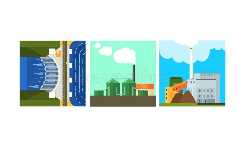 Centrales eléctricas, limpio y producción de la generación de la energía de la contaminación, ejemplo del vector de la energía al stock de ilustración