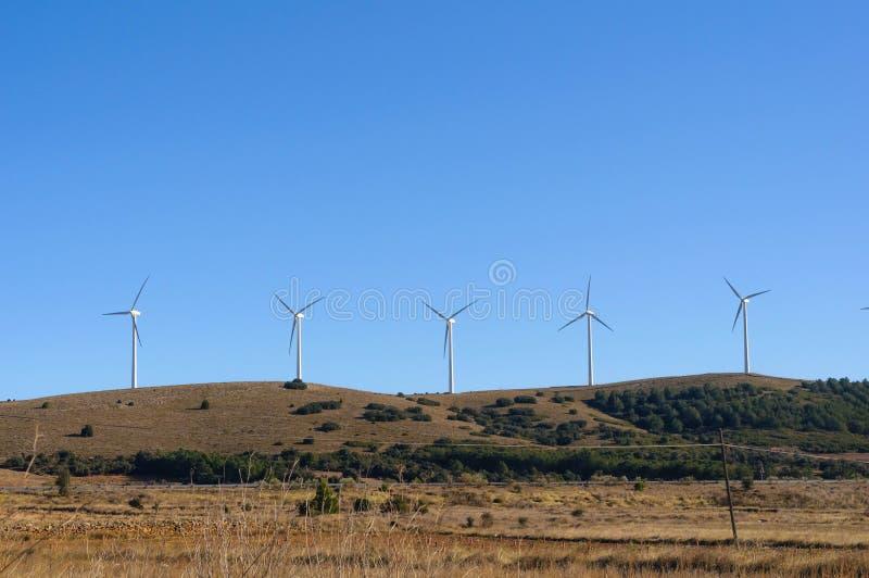 Centrali elettriche a vento in bianco sul campo immagini stock