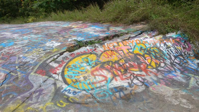 Centralia PA - Graffiti Highway. Centralia pa -  Graffiti highway.  Abandoned highway in centralia pa. the mining town the  game and movie silent hill was based stock image