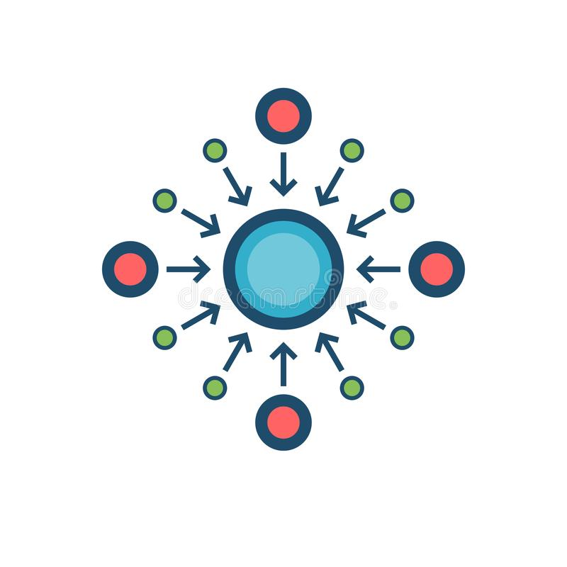 Centralization Flat Vector Icon royalty free illustration