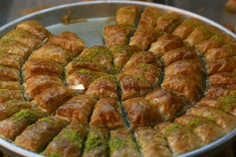 centralna baklava deserowa wschodniej słodka tradycyjnej tray fotografia royalty free