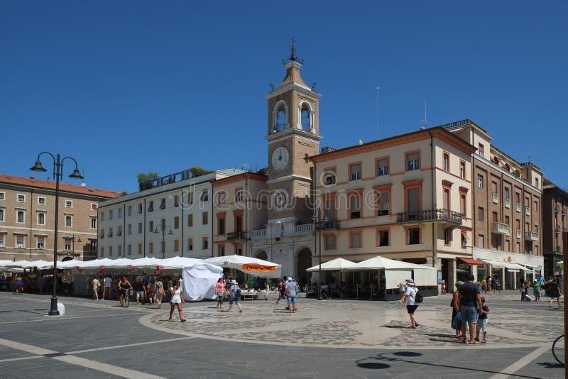 Centralne miasto kwadrat z miasto rynkiem w centrum Rimini, Włochy fotografia royalty free