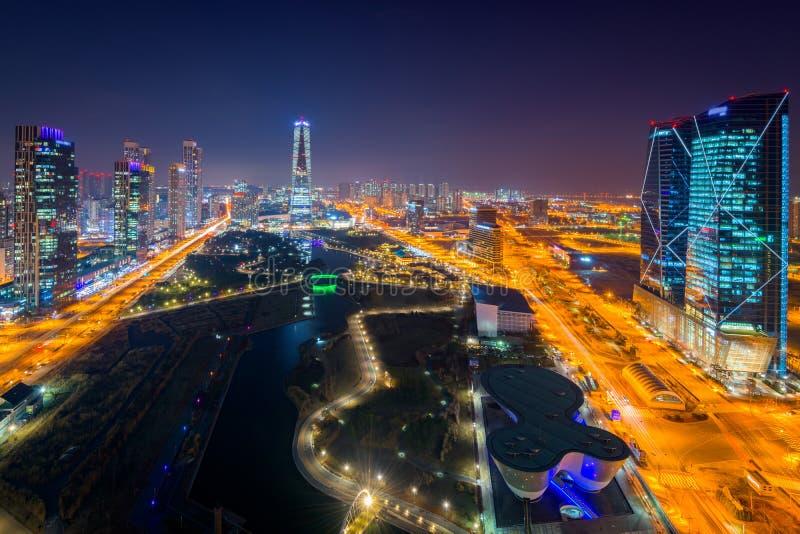 Centralpark bij Nacht Incheon, Zuid-Korea royalty-vrije stock foto's