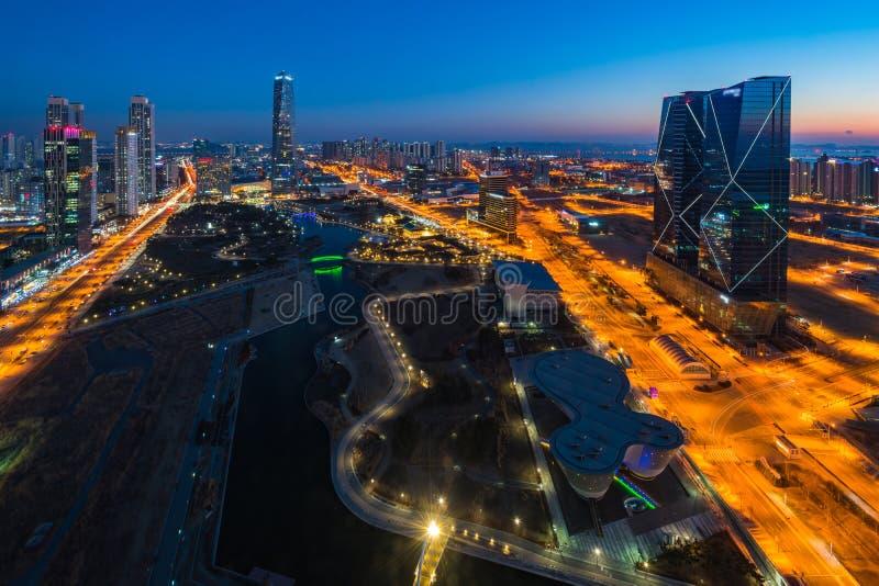 Centralpark bij Nacht Incheon, Zuid-Korea stock fotografie