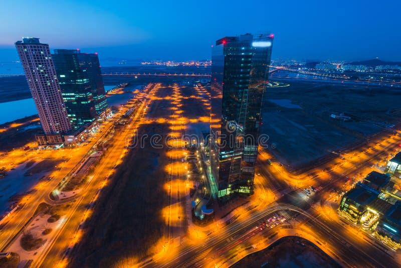 Centralpark bij Nacht Incheon, Zuid-Korea royalty-vrije stock afbeelding