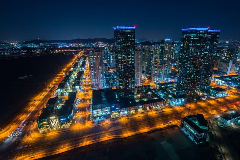 Centralpark bij Nacht Incheon, Zuid-Korea royalty-vrije stock afbeeldingen