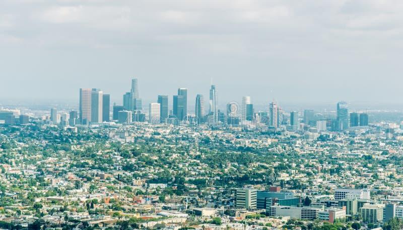 Centralt område av Los Angeles, Kalifornien, USA tema för illustration för arkitekturaffärsmitt royaltyfria bilder