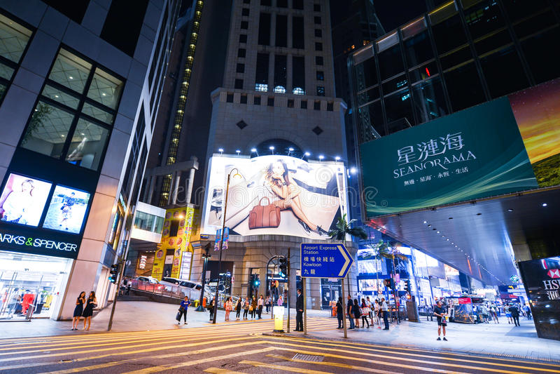 Centralt område: Trafik och stadsliv i den asiatiska internationella affären och den finansiella mitten, Hong Kong royaltyfri foto
