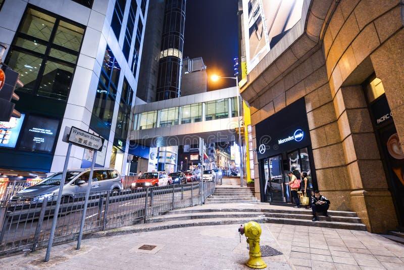 Centralt område: Trafik och stadsliv i den asiatiska internationella affären och den finansiella mitten, Hong Kong arkivfoto