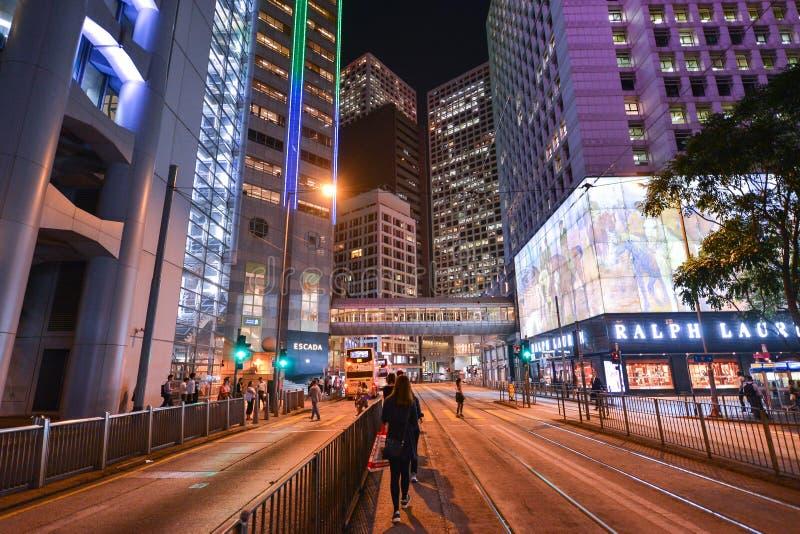 Centralt område: Trafik och stadsliv i den asiatiska internationella affären och den finansiella mitten, Hong Kong royaltyfria foton