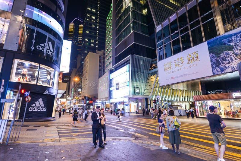 Centralt område: Trafik och stadsliv i den asiatiska internationella affären och den finansiella mitten, Hong Kong arkivbilder