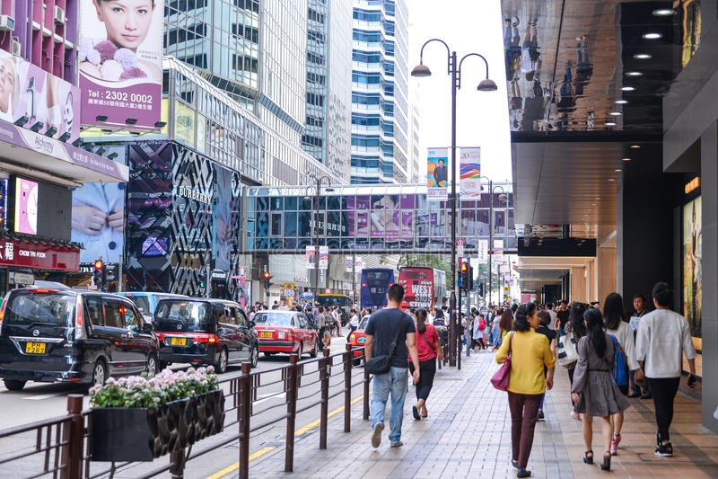Centralt område: Trafik och stadsliv i den asiatiska internationella affären och den finansiella mitten, Hong Kong arkivbild
