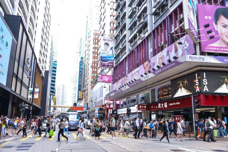 Centralt område: Trafik och stadsliv i den asiatiska internationella affären och den finansiella mitten, Hong Kong royaltyfri bild