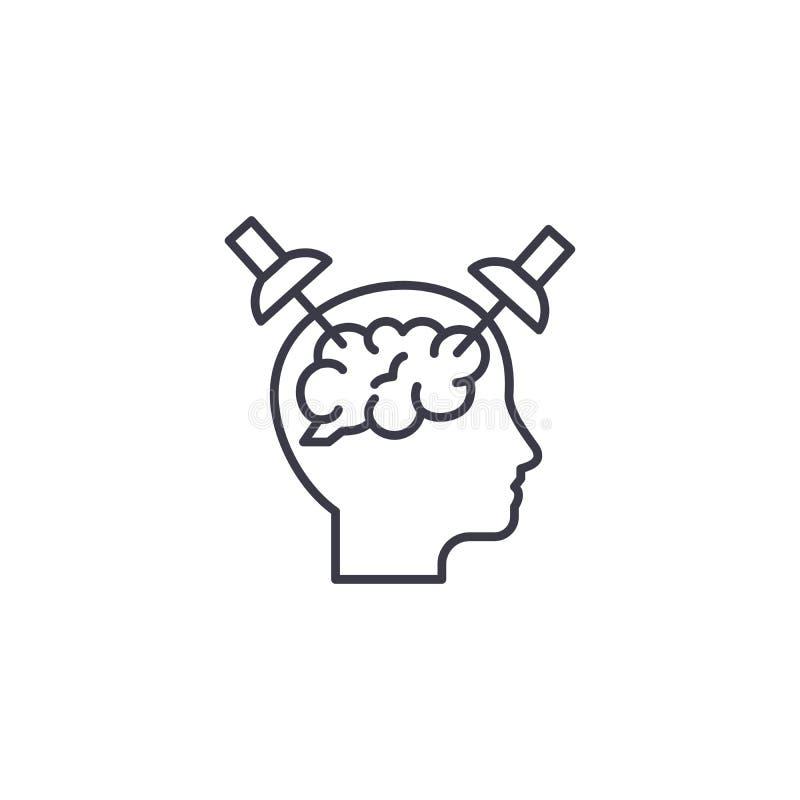 Centrar-se sobre o conceito linear do ícone das edições Centrando-se sobre edições alinhe o sinal do vetor, símbolo, ilustração ilustração royalty free