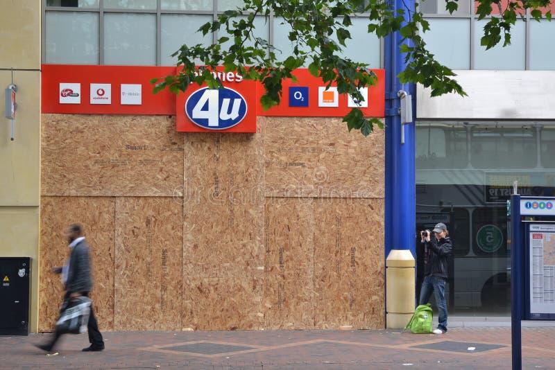 Centre of Birmingham-England Riots 2011-Phone shop stock photos