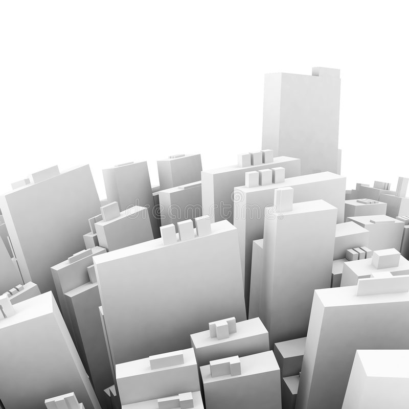 Centre of the city conception. White royalty free illustration