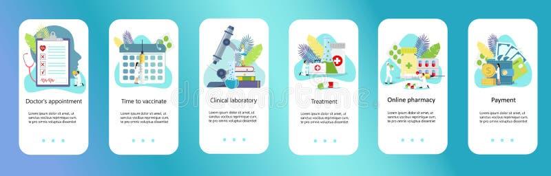 Centre clinique, pharmacie en ligne, heure de vacciner illustration de vecteur