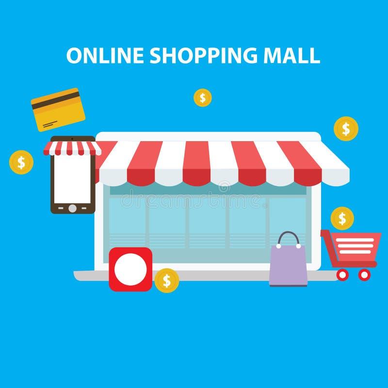 Centre commercial en ligne illustration de vecteur