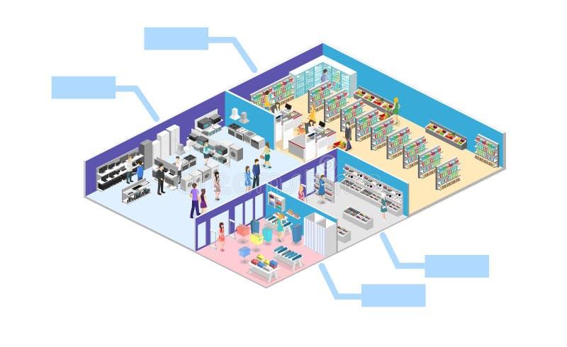 Centre commercial intérieur isométrique, épicerie, ordinateur, ménage, magasin d'équipement images libres de droits